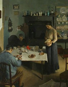 (c) Royal Institution of Cornwall; Supplied by The Public Catalogue Foundation-Harold Harvey; The Tea Table