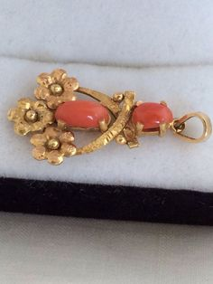 18K Gold Salmon Coral Relief Double Cabochon by HauteCoutureLaLa