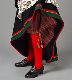 Stocking & shoes for bunad from Åmli, Norway, in Aust-Agder (East Agder) Norway Culture, Folk Clothing, Beautiful Costumes, Folk Costume, Kristiansand, Traditional Outfits, Bridal Crown, Couture, Aesthetic Clothes