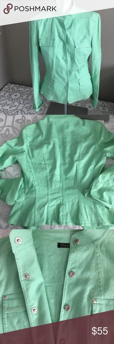 Beautiful Tahari Statement piece! Cute light weight linen and rayon blend jacket great throw and go to pair with anything! Beautiful mint color and of course great tahari quality! Tahari Jackets & Coats