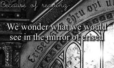 Because of reading we wonder what we would see in the mirror of Erised. (Harry Potter)