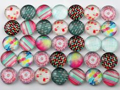 50pcs 12mm Mixed Abstract Photo Glass Cabochons by RedandBerry on Etsy