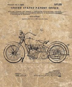 1928 Harley Davidson Motorcycle Patent Illustration