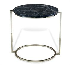 Halo End Table - Polished Nickel, Chocolate Marble - 20D x 21H