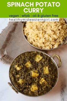 A quick and easy Spinach Potato Curry with just 10 ingredients that cooks up in 30 minutes. Plant-based, vegan, oil free and gluten free. Healthy Indian Recipes, Vegan Recipes Easy, Plant Based Diet, Plant Based Recipes, Chickpea And Potato Curry, Finding Vegan, Curry Dishes, Creamed Spinach, Unprocessed Food