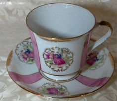 Norleans George & Martha Pink Fine China Footed Cup & Saucer with Gold Trim