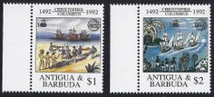 Antigua Scott #1599-1600 (29 Aug 1992) Omnibus issue of OECS: Discovery of America and Organization of East Caribbean States emblems, Columbus coming ashore; Columbus' ships and native people.