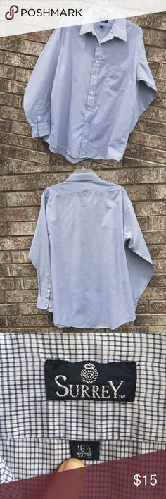 Men's Oxford Style button Down Dress Shirt The neck size is 16 1/2 and the arm length is 34/35. Shirt is in great condition. Great quality brand for a good price. Offers are welcome and most are accepted!! Surrey Shirts Dress Shirts