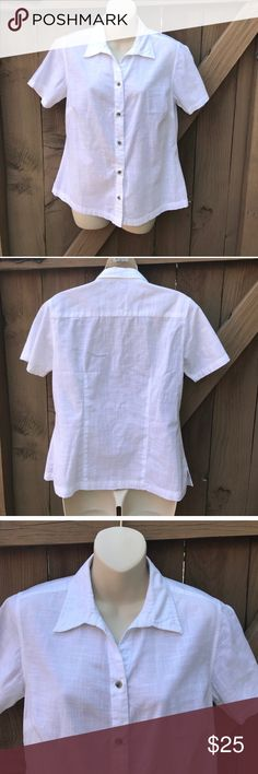 Columbia size M white X CO button down shirt Columbia size M white X CO button down shirt: BIN 3 Columbia Tops Button Down Shirts