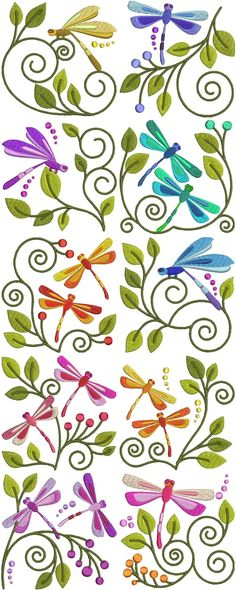 <3 Embroidered Jacobean  Dragonflies