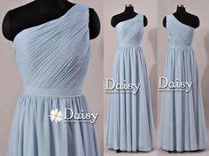 Cloudy Blue Long Bridesmaid DressChiffon Party by DaisyBridalHouse, $107.00