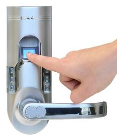 Silver Bio-Matic Weather-Proof Fingerprint Recognition Door Lock - this is awesome. Stores up to 150 fingerprints and 78 pass codes.