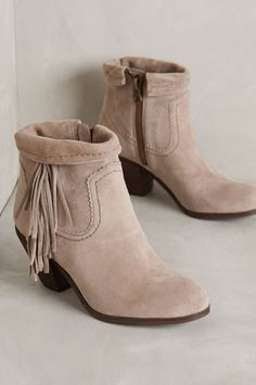 ce354bd7d41368 Anthro SAM EDELMAN LOUIE FRINGE SUEDE ANKLE BOOTIES Gray Boho Ankle Boots  7.5  SamEdelman