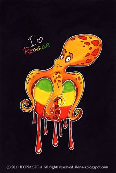 Reggae octopus by Ilona Ilona Sula ilona-s.blogspot.com TheArtistInLove.etsy.com