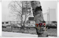 Crochet Heart Garland from the Gorleben interim storage facility Storage Facility, Heart Garland, Snow, Urban, Knitting, Outdoor, Outdoors, Tricot, Cast On Knitting