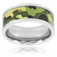 West Coast Jewelry Crucible Polished Stainless Steel Milgrain Flat Ring - 9mm Wide