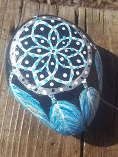 Turquoise & black Dream Catcher       Hand Painted Rock