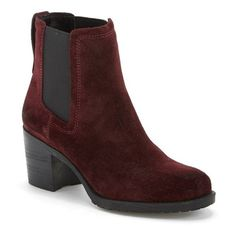 """Sam Edelman 'Hanley' Chelsea Boot, 3"""" heel ($130) ❤ liked on Polyvore featuring shoes, boots, ankle booties, ankle boots, sangria, chunky high heel boots, bootie boots, chunky heel booties and sam edelman boots"""