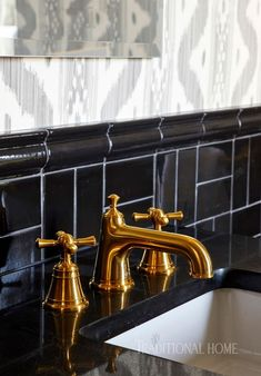 """Randall"" vanity faucets in satin brass are by DXV and make a statement atop a dark vanity. Laundry Room Bathroom, Steam Showers Bathroom, Bathroom Faucets, Vanity Faucets, Bathrooms, Laundry Rooms, Traditional Bathroom, Traditional Decor, Traditional House"