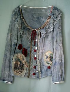 Huntress-- jacket, blouse, vintage and antique lace, fabric collage shirt wearable art, romantic bohemian