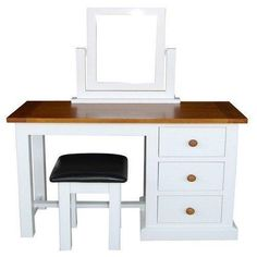 Cherbourg Dressing Table with Mirror & Stool