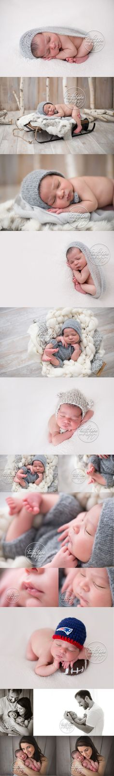 A winter inspired newborn boy session in grey and white. | Heidi Hope Photography