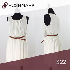 🌟NWT🌟 White Belted Dress Dress is new with tags without any defects. It has an elastic waist band in the bottom part of the dress is fully lined. The top has a double layer of fabric. The fabric content is 100% polyester. Forever 21 Dresses