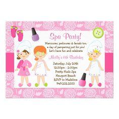 Kids Spa Birthday Party Invitation