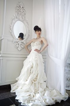 organic ruffle wedding gown. layers and layers! http://www.weddingchicks.com/2013/12/03/timeless-editorial-shoot/
