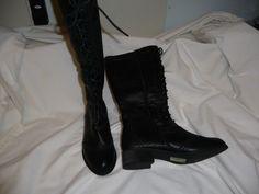 NEW Charming Charlie ladies sz 8 black knee boots lace and zip NICE nwob #CharmingCharlie #KneeHighBoots
