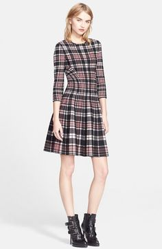 Alexander McQueen Full Circle Skirt Plaid Dress available at #Nordstrom