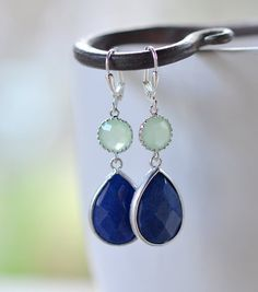 Navy Blue and Mint Jewel Gem Earrings in Silver. Dangle Earrings.  Bridesmaid Jewelry. Wedding Jewelry.