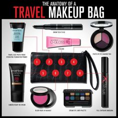 Anatomy of a travel makeup bag by  Smashbox Cosmetics