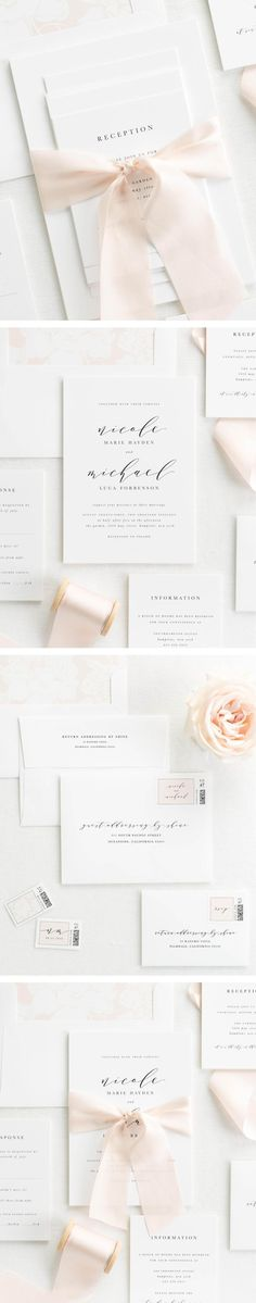 The Nicole wedding invitation collection is perfect for any glamorous and refined wedding.