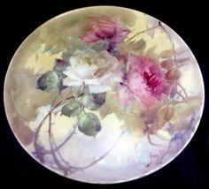 "Franz A Bischoff T V Limoges Vintage Hand Painted Tray Platter 11 5"" Plate Roses | eBay"