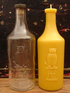 Seller makes beeswax candles with molds struck from antique glass bottles.  LOVE these ♥.