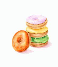 ORIGINAL Painting  Colorful Doughnuts Dessert por ForestSpiritArt, £20.00
