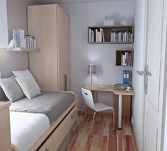 Very Small Bedroom Design with Wood Floor and Furniture. How to Arrange Small Bedroom Design. Home Interior Design Ideas 26837 Small Room Bedroom, Small Bedroom Decor, Tiny Bedroom Design, Home Decor, Small Dorm Room, Room Design, Apartment Decor, Remodel Bedroom, Very Small Bedroom