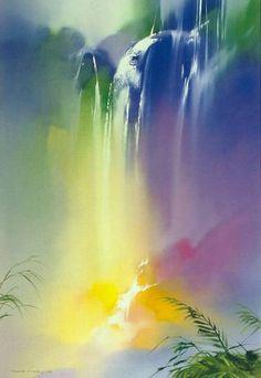 'Rainbow Falls' by Thomas Leung Chinese Landscape Painting, Watercolor Landscape Paintings, Landscape Art, Watercolor Art, Waterfall Paintings, Art Drawings Beautiful, Illustration Art Drawing, Minimalist Painting, Amazing Art