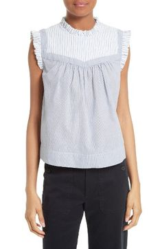 Free shipping and returns on La Vie Rebecca Taylor Mixed Stripe Top at Nordstrom.com. A mix of striped patterns creates a trompe l'oeil effect for a sleeveless cotton babydoll top sweetened with dainty ruffles at the collar and shoulders.