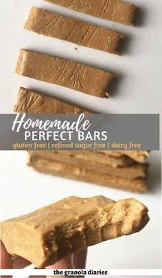 Copycat Homemade Perfect Bars - The Granola Diaries - Homemade Perfect Bars – Peanut butter flavor! A healthy homemade protein bar that is gluten free - Sugar Free Protein Bars, Healthy Protein Bars, Peanut Butter Protein Bars, Protein Bar Recipes, Protein Powder Recipes, Protein Foods, Healthy Desserts, Gourmet Recipes, Granola Protein Bars