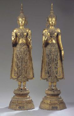 Christie's two thai, ratnakosin period, gilt-bronze figures of buddha sakyamuni century Thailand History, Culture Of Thailand, Buddha Sculpture, Sculpture Art, Buddha Statues, Standing Buddha Statue, Art Thai, Philippine Art, Laos