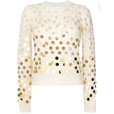 Marc Jacobs Ivory Sequined Open-Knit Sweater ($495) ❤ liked on Polyvore featuring tops, sweaters, ivory, long sleeve sweater, long sleeve sequin top, ivory sweater, white sequin top and sequin sweaters