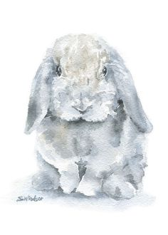 Gray MIni Lop Rabbit watercolor giclée reproduction. Portrait/vertical orientation. Printed on fine art paper using archival pigment inks. This quality printing
