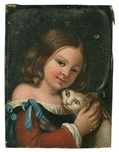 Unknown artist (19th century) - Young girl embracing a cat - Oil on canvas
