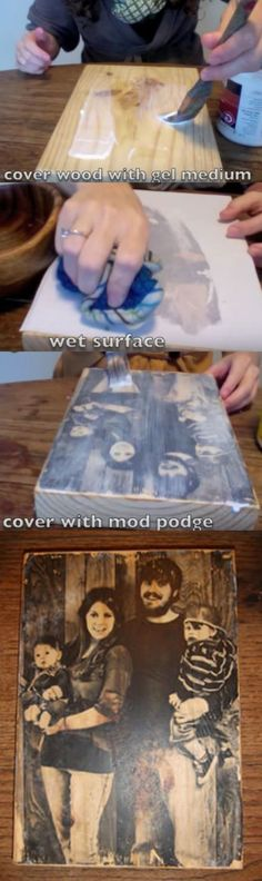 How to Transfer a Photograph Onto a Block of Wood (Video) #HandmadeHomeDecor