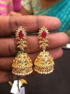 Earrings For Women Gold Jhumka Earrings, Gold Earrings Designs, Gold Jewellery Design, Necklace Designs, Jhumka Designs, Ring Designs, Diamond Earrings, Pendant Jewelry, Beaded Jewelry