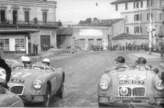 MJB 167 Works MG A Roadster : entered in the 1956 Mille Miglia driven by Peter Scott-Russel and Tom Haig / 1956 RAC and Alpine rally / 1957 Liege - Rome - Liege rally .. MBL 867 had a almost perfect history being always driven by ladies , Nancy Mitchell winning the 1956 and 1957 European ladies championships in the car .