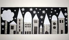 Häuser, Collage mit Zeitungspapier, Straßenansicht in der Nacht, Basteln mit Kindern, bastelsachen3/basteln-Stadt-bei-Schneefall