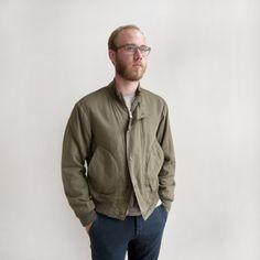 Engineered Garments - Deck Jacket - Olive Cotton/Wool Sateen - Indigo & Cotton